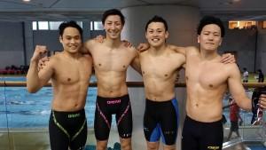 ブルコル(竹本崇志さん、池上肇さん、田口涼也さん、内山慎太郎さん)が4×50mメドレーリレーで世界タイ記録達成